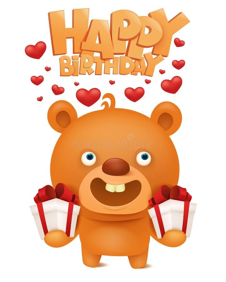 Brown Funny Emoji Teddy Bear With Gift Box. Happy Birthday ...