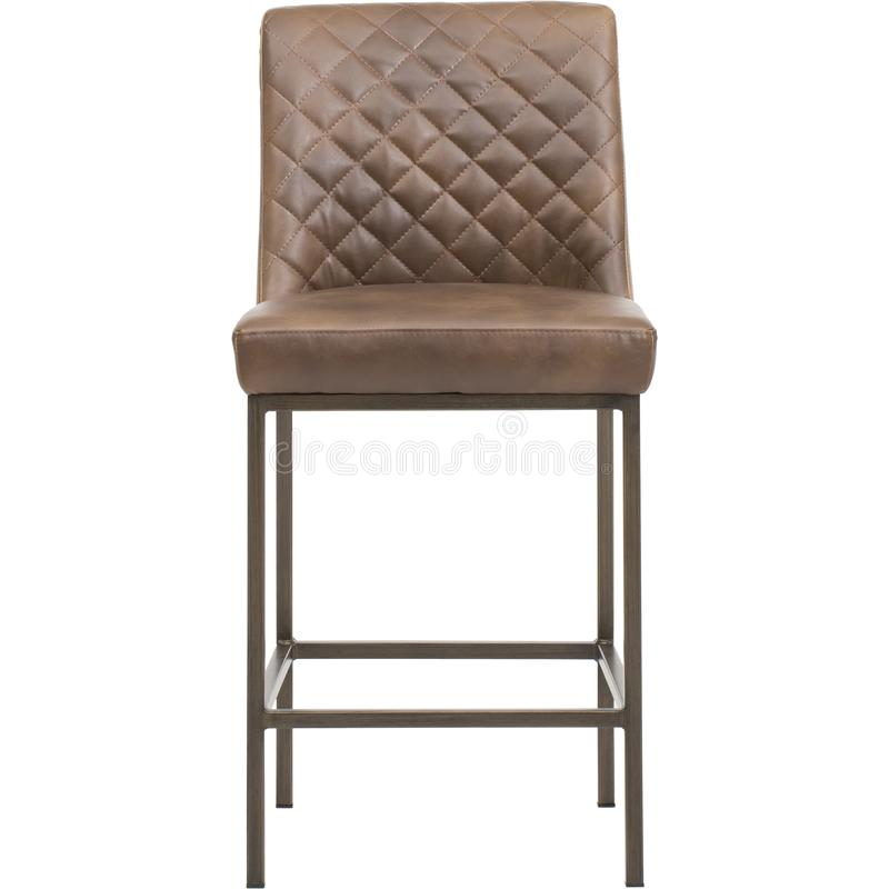 Brown - Furniture - Sunpan, EIGHLAND DINING CHAIR - ANTIQUE BRASS - DARK GREY FABRI, Bar Stool with Cushion with white backgr royalty free stock photo