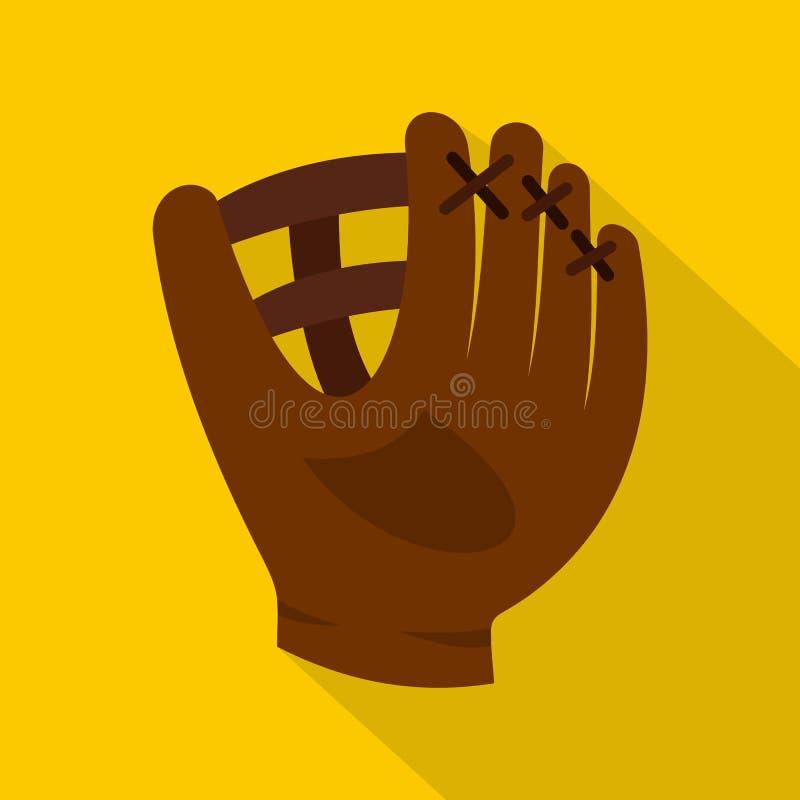 Brown garnissent en cuir l'icône de gant de base-ball, style plat illustration de vecteur