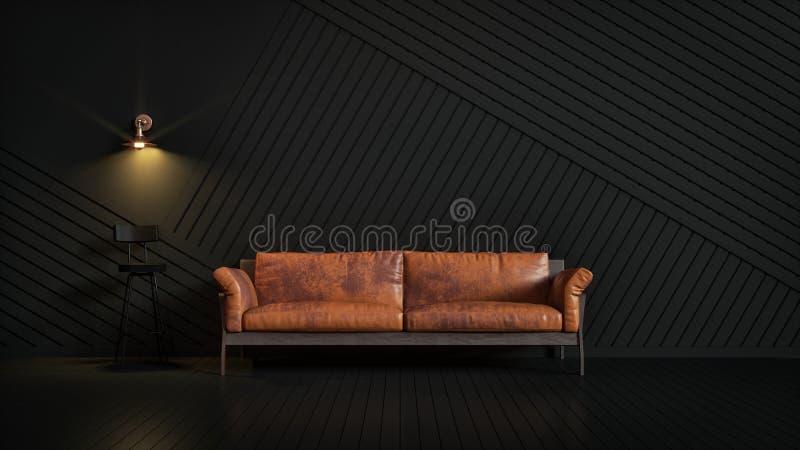 Brown garnissent en cuir le divan dans une chambre noire semblant élégante illustration de vecteur