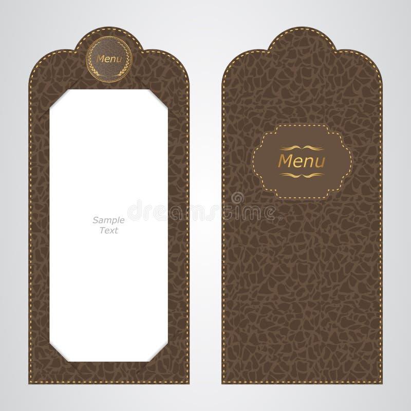 Brown garnissent en cuir le menu de dossier de VIP du restaurant, la vue des deux côtés illustration stock