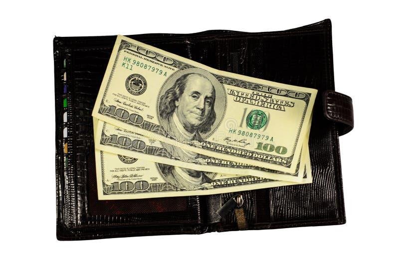 Brown garnissent en cuir le portefeuille avec les dollars d'isolement sur le blanc photo libre de droits