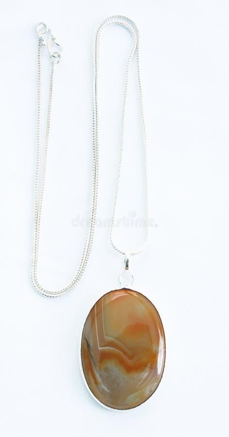 Brown gemstone srebra kolia fotografia stock