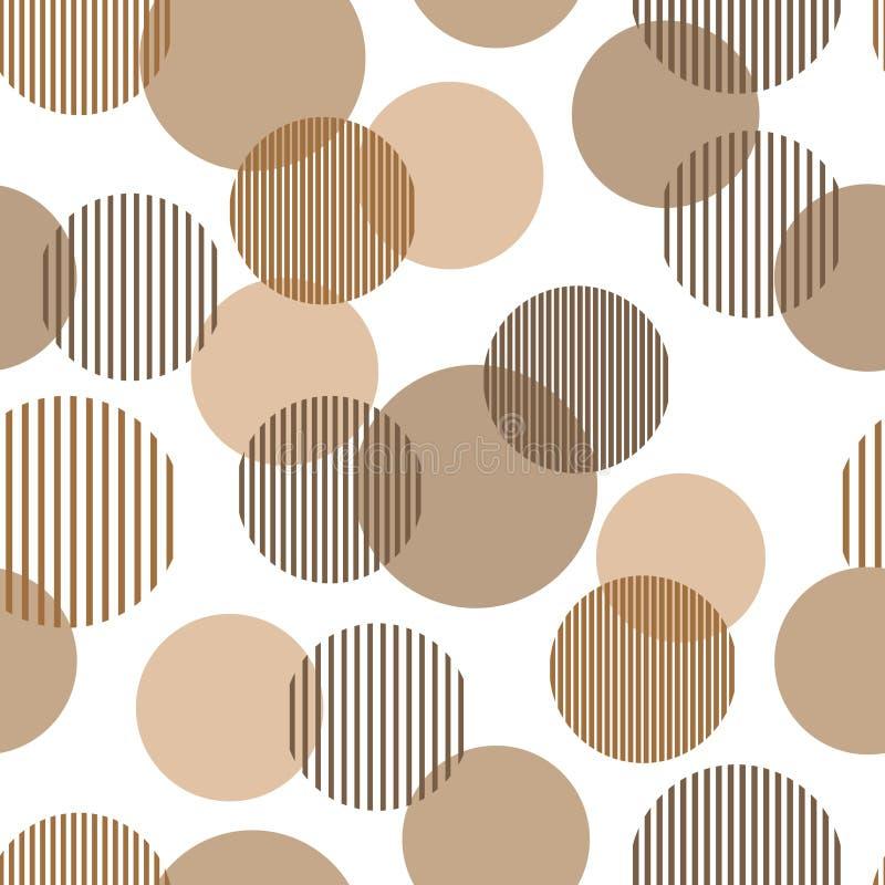Brown geometryczny bezszwowy wzór i beżowi abstrakcjonistyczni prości pasiaści okręgi, wektor ilustracji