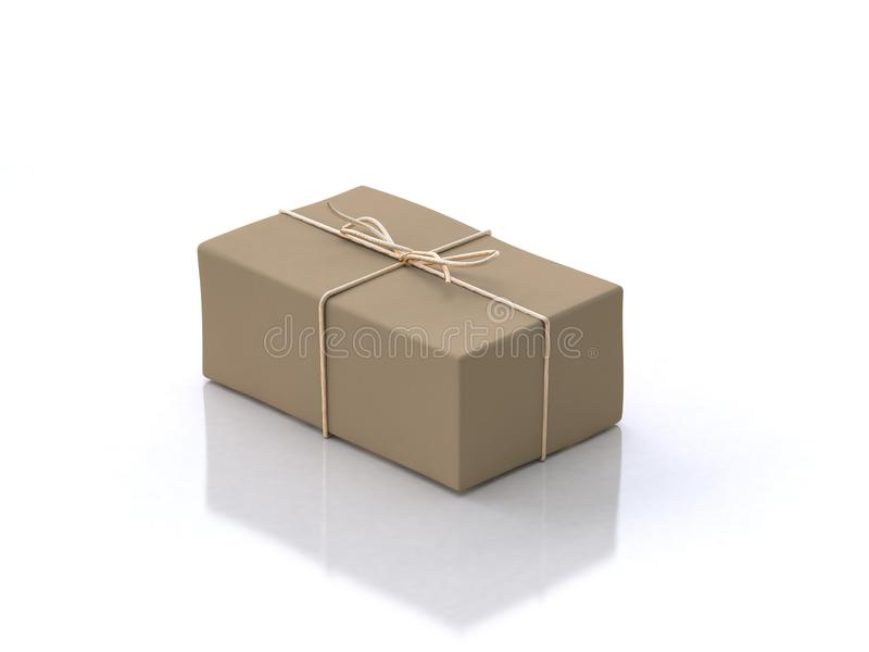 3d rendering brown gift box white floor reflection royalty free illustration