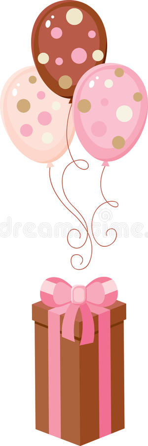 Download Brown Giftbox With Balloons Stock Vector - Image: 23625379