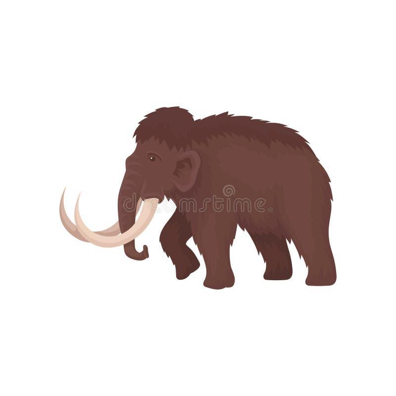 Brown gigantesco com presas grandes Grande animal extinto da idade do gelo Criatura pré-histórica do mamífero Projeto liso do vet ilustração royalty free