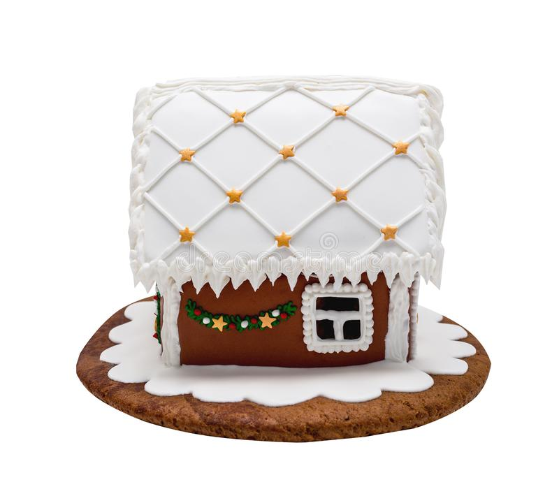 Brown gingerbread house, Christmas. Handmade. Isolated on white stock image