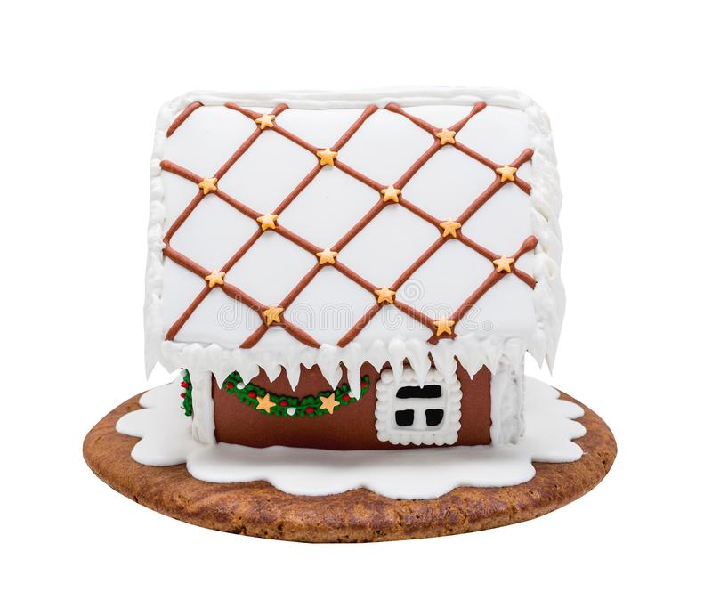 Brown gingerbread house, Christmas. Handmade. Isolated on white royalty free stock image