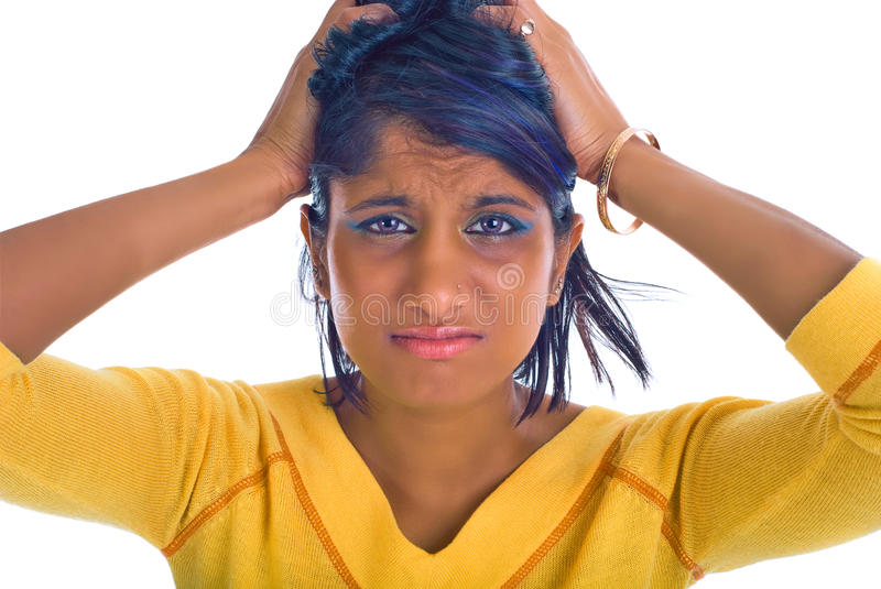 Brown girl being stressed stock photos