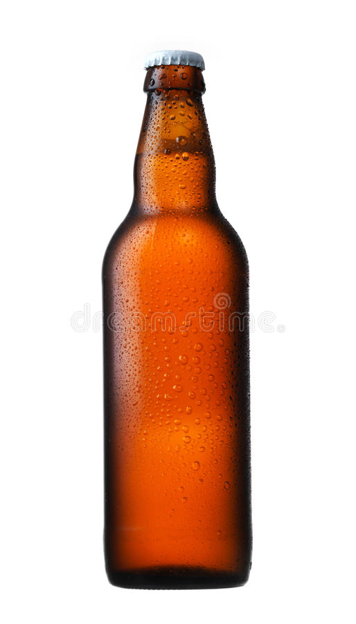 Brown glass beer bottle. On white royalty free stock photos