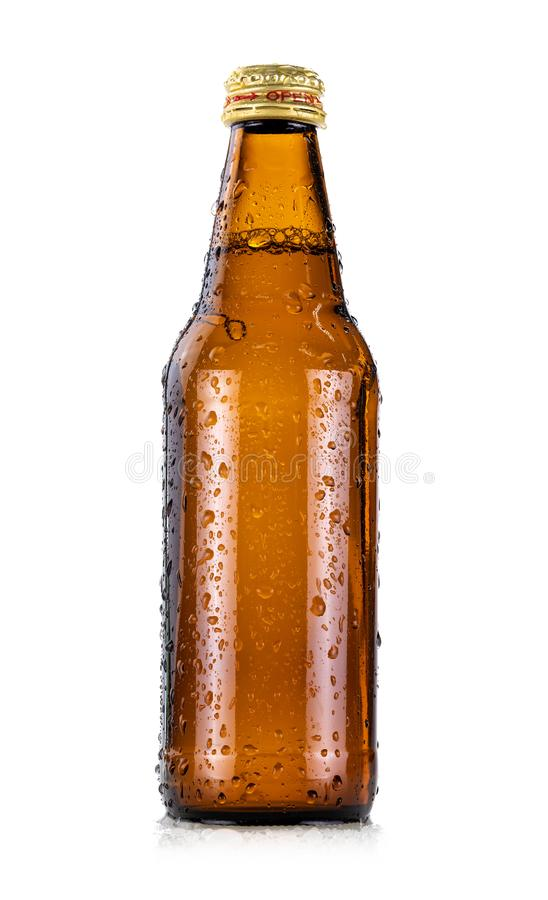 Brown glass beverage bottle with cool water droplet isolated on white background royalty free stock photo