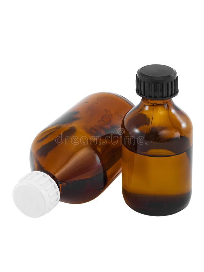 Download Brown Glass Bottles With Liquid Drug Stock Photo - Image: 18437816