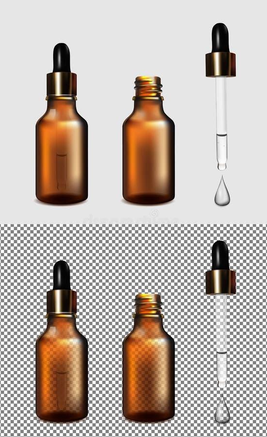 Brown glass transparent bottle. Gold cap with dropper vector illustration