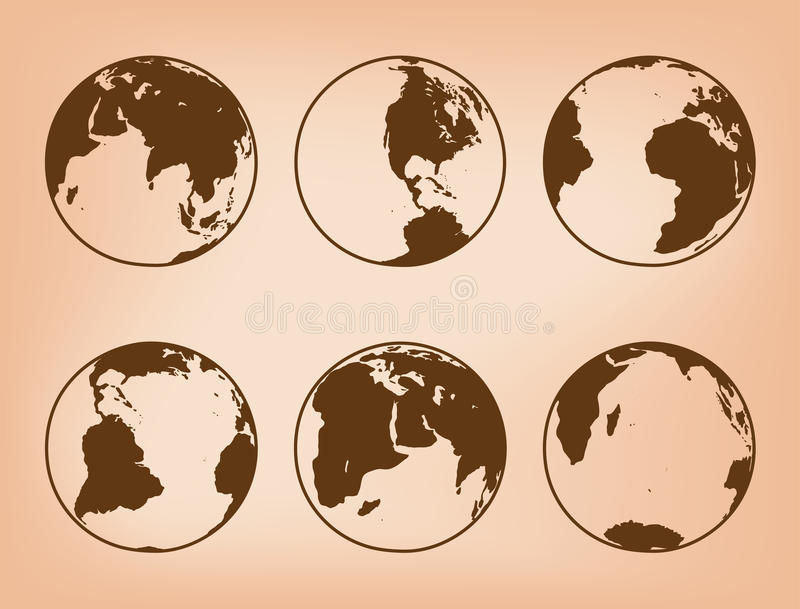 Brown vector globes with continents - set of Earth. Brown globes with continents - vector set of Earth royalty free illustration