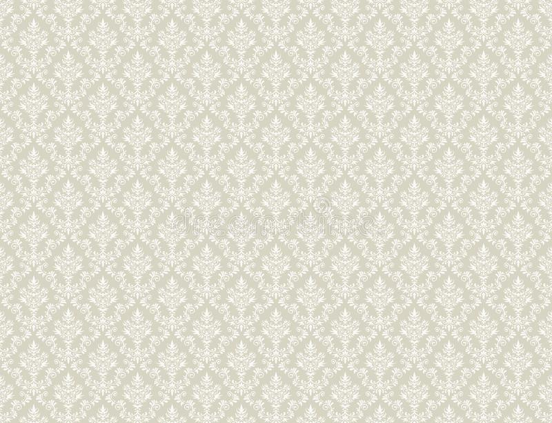 Brown Gold Wallpaper With White Damask Pattern Stock