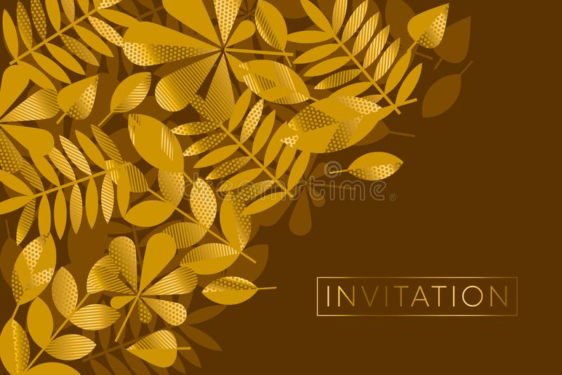 Brown and gold leaves pattern vector illustration vector illustration