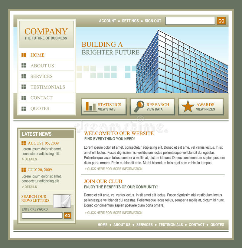Brown and Gold Technology Business Template royalty free illustration
