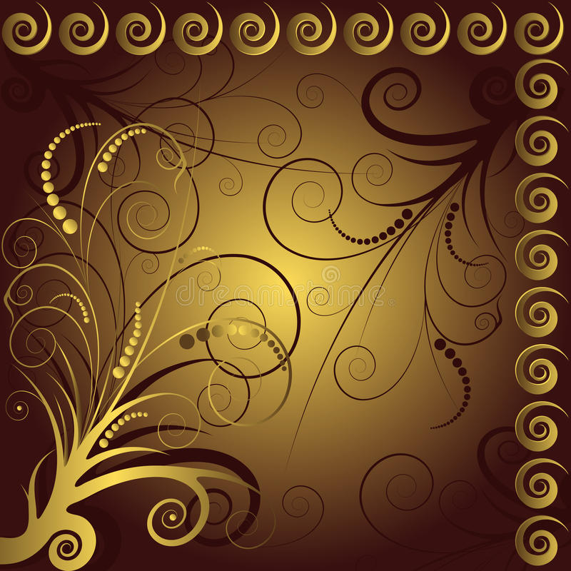 Brown and golden floral  background