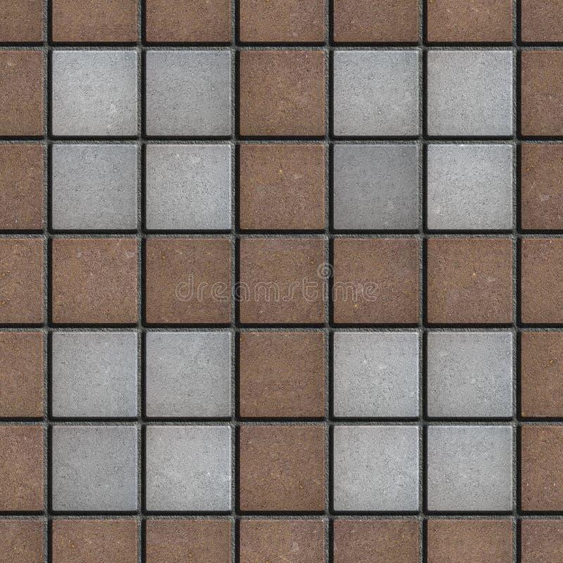 Brown-graue quadratische Ziegelstein-Straßenbetoniermaschinen Nahtlose Beschaffenheit vektor abbildung