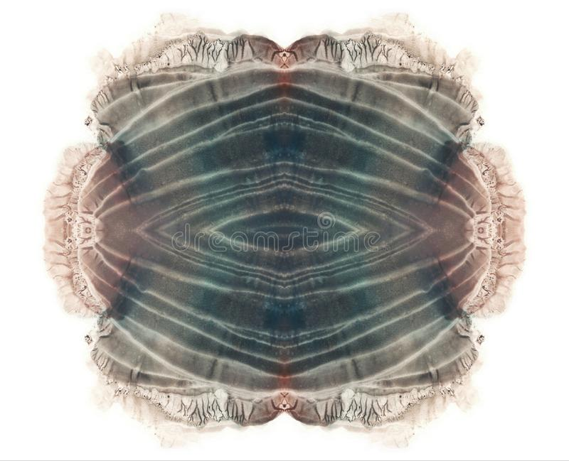 Brown and gray watercolor blotch. Abstract symmetric grunge painting. white. stock photos