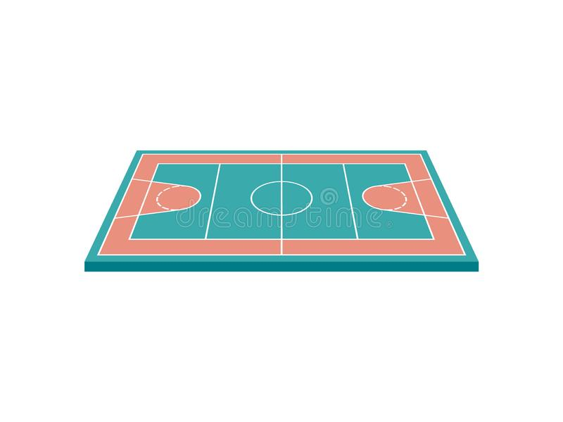 Basketball court. View from above. Vector illustration on white background. Brown with green basketball court. View from above. Vector illustration on white royalty free illustration