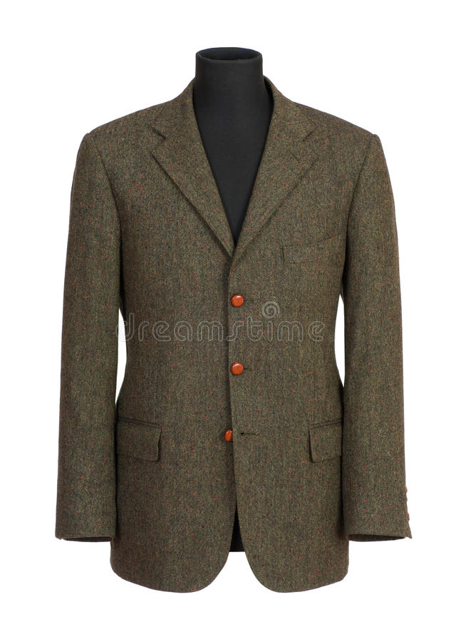 Brown Green Businessmen Suit on a Mannequin. Close up Simple Brown Green Businessmen Suit on a Mannequin, Isolated on White Background stock photo