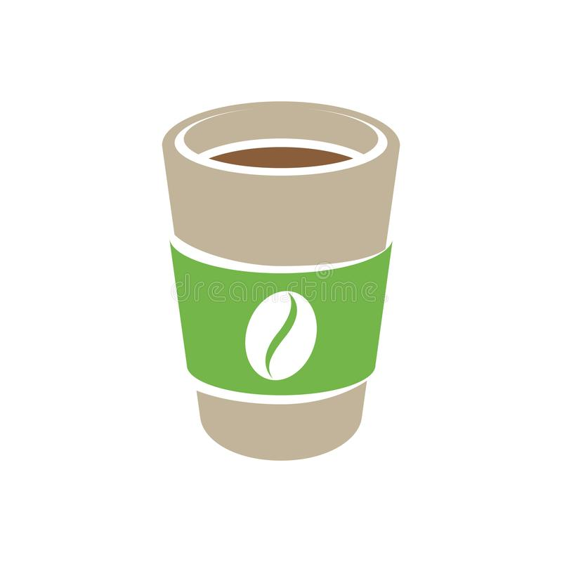 Brown and Green Paper Coffee or Tea Cup Icon isolated on a White Background Vector Illustration stock illustration