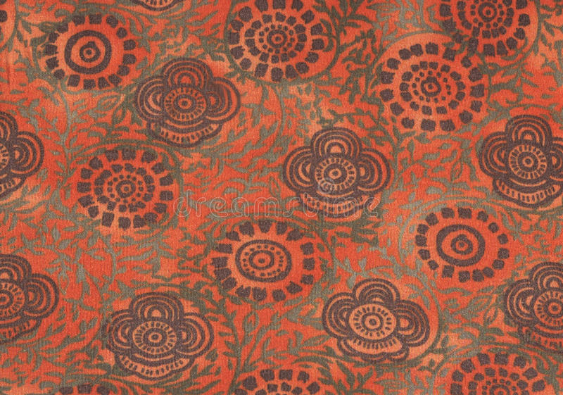 Brown and green retro flowers on orange background royalty free stock photography