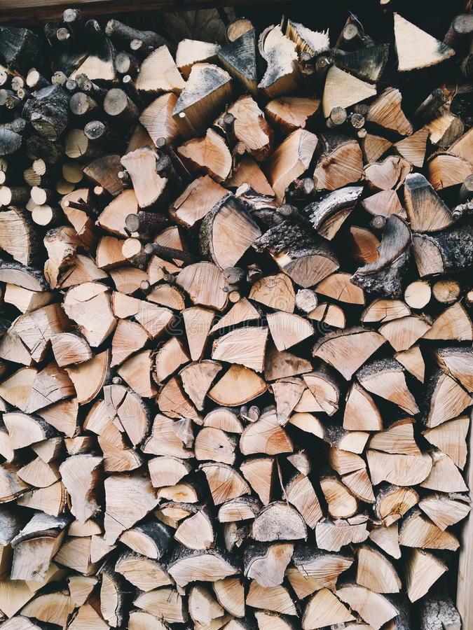 Brown and Grey Fire Wood stock image