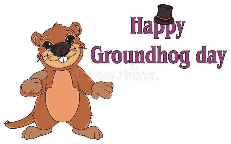 Brown Groundhog und Aufschriftfeiertag lizenzfreie abbildung
