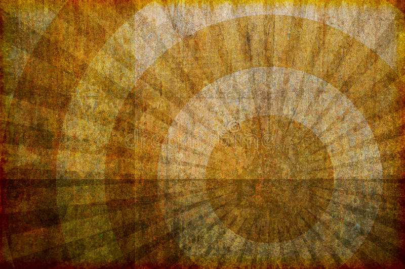 Brown Grunge Background With Rings And Rays Stock Photos