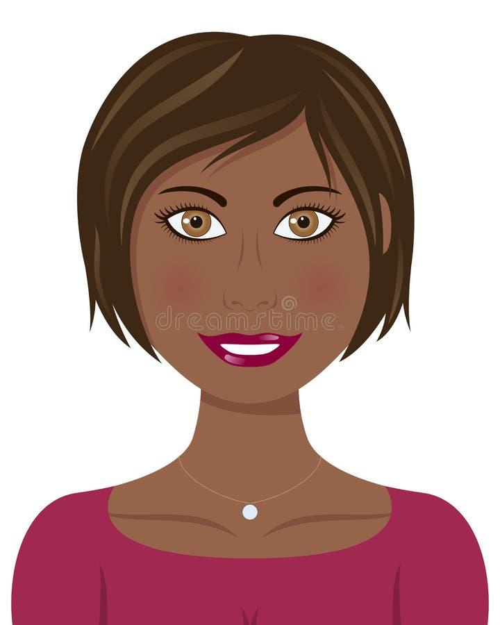 Brown hår och afro- kvinna för ögon royaltyfri illustrationer