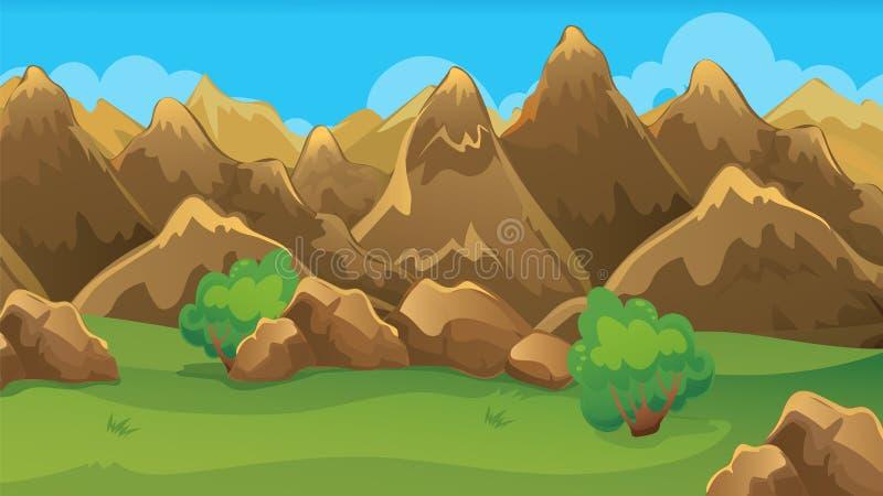 Brown-Hügel-Spiel-Hintergrund lizenzfreie abbildung