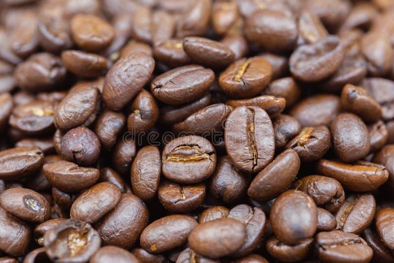 Brown ha arrostito il fondo di struttura dei chicchi di caffè per progettazione di massima dell'agricoltura o della bevanda e del fotografia stock