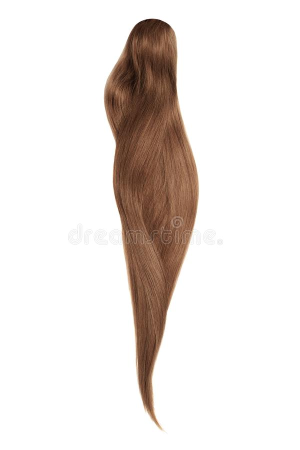 Brown hair, isolated on white background. Long beautiful ponytail. Natural healthy hair isolated on white background. Detailed clipart for your collages and stock images