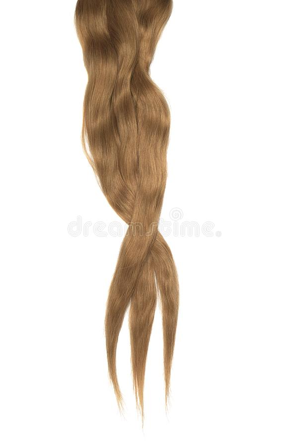 Brown hair isolated on white background. Long disheveled ponytail. Natural healthy hair isolated on white background. Detailed clipart for your collages and stock photo