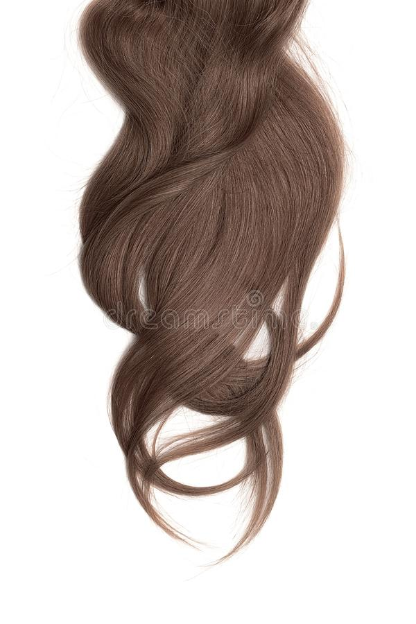 Brown hair, isolated on white background. Long and disheveled ponytail. Natural healthy hair isolated on white background. Detailed clipart for your collages and stock photo