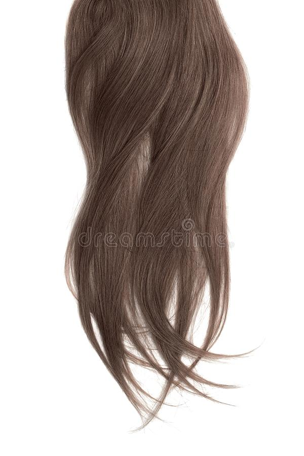 Brown hair, isolated on white background. Long and disheveled ponytail. Natural healthy hair isolated on white background. Detailed clipart for your collages and stock photography