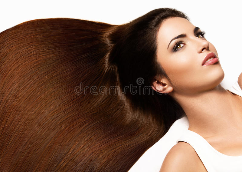 Brown Hair. Portrait of Beautiful Woman with Long Hair. royalty free stock photography