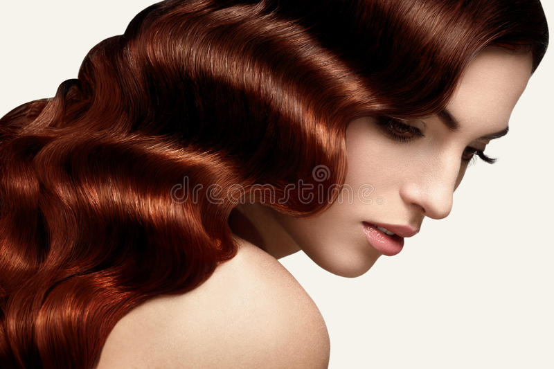 Brown Hair. Portrait of Beautiful Woman with Long Wavy Hair. royalty free stock photography