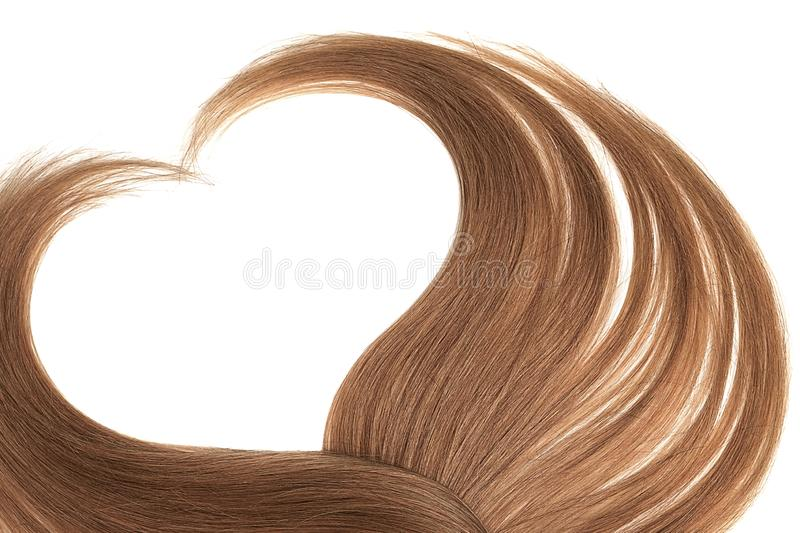 Brown hair in shape of heart, isolated on white background. Natural healthy hair isolated on white background. Detailed clipart for your collages and royalty free stock photography