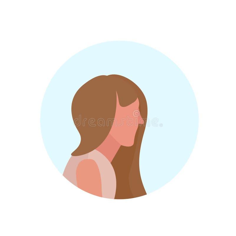 Brown Hair Woman Profile Avatar Isolated Female Cartoon Character