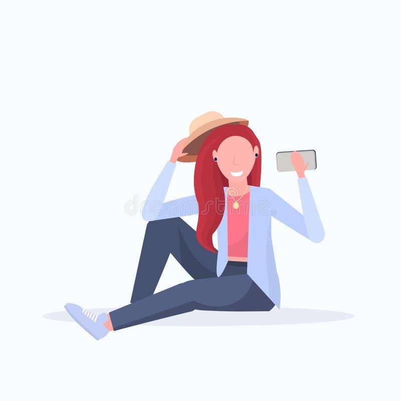 Brown hair woman taking selfie photo on smartphone camera female cartoon character sitting girl posing on white. Background flat full length vector illustration royalty free illustration