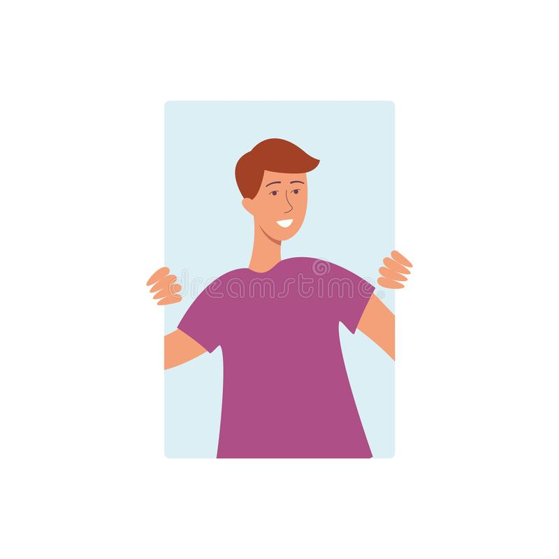 Brown haired man in a purple tshirt smiling and holding on to the window from behind. Blue rectangle on a white background. Vector illustration of a man in the royalty free illustration