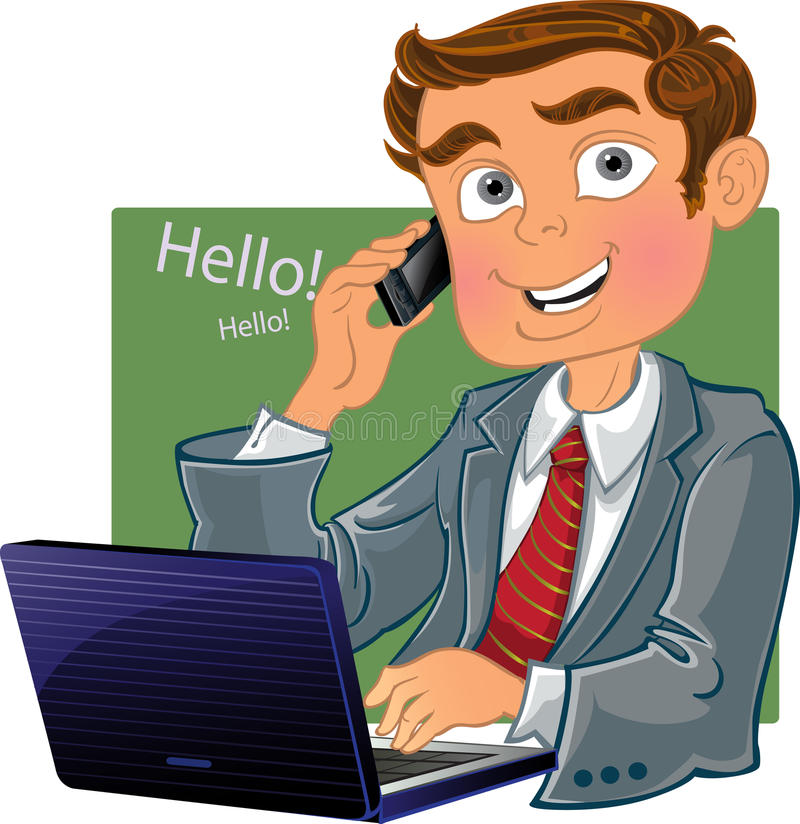 Brown-haired men with phone and laptop stock photography