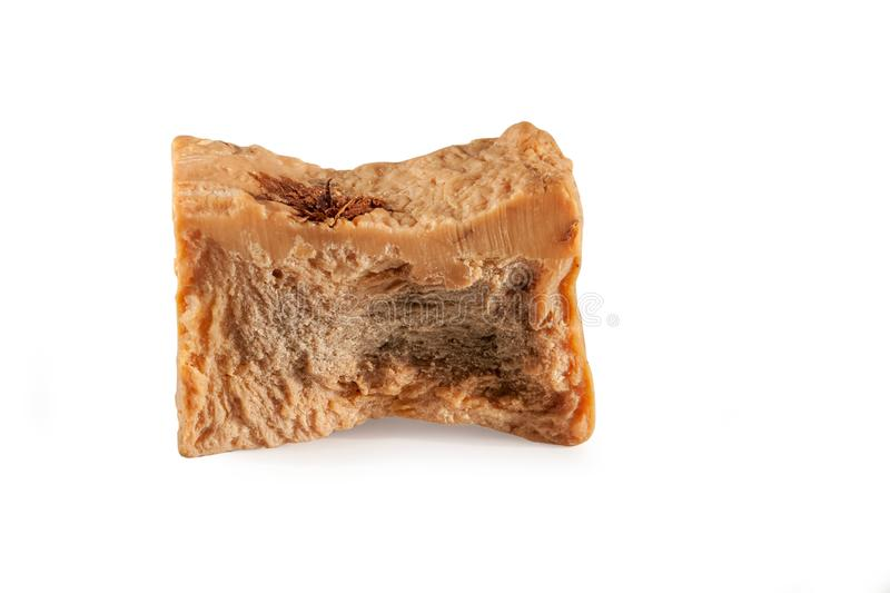 Brown handmade soap on the white background stock image
