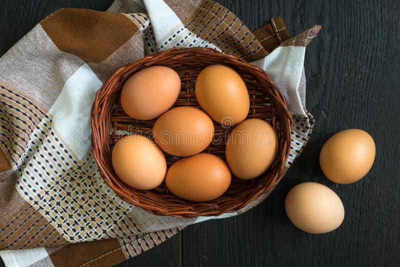 Brown hen eggs still-life top image royalty free stock images