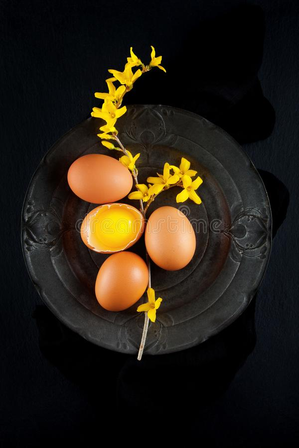 Brown hen`s eggs decorates with yellow flowers on antique plate, rustic food photography stock images