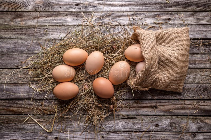 Brown hen's eggs royalty free stock image